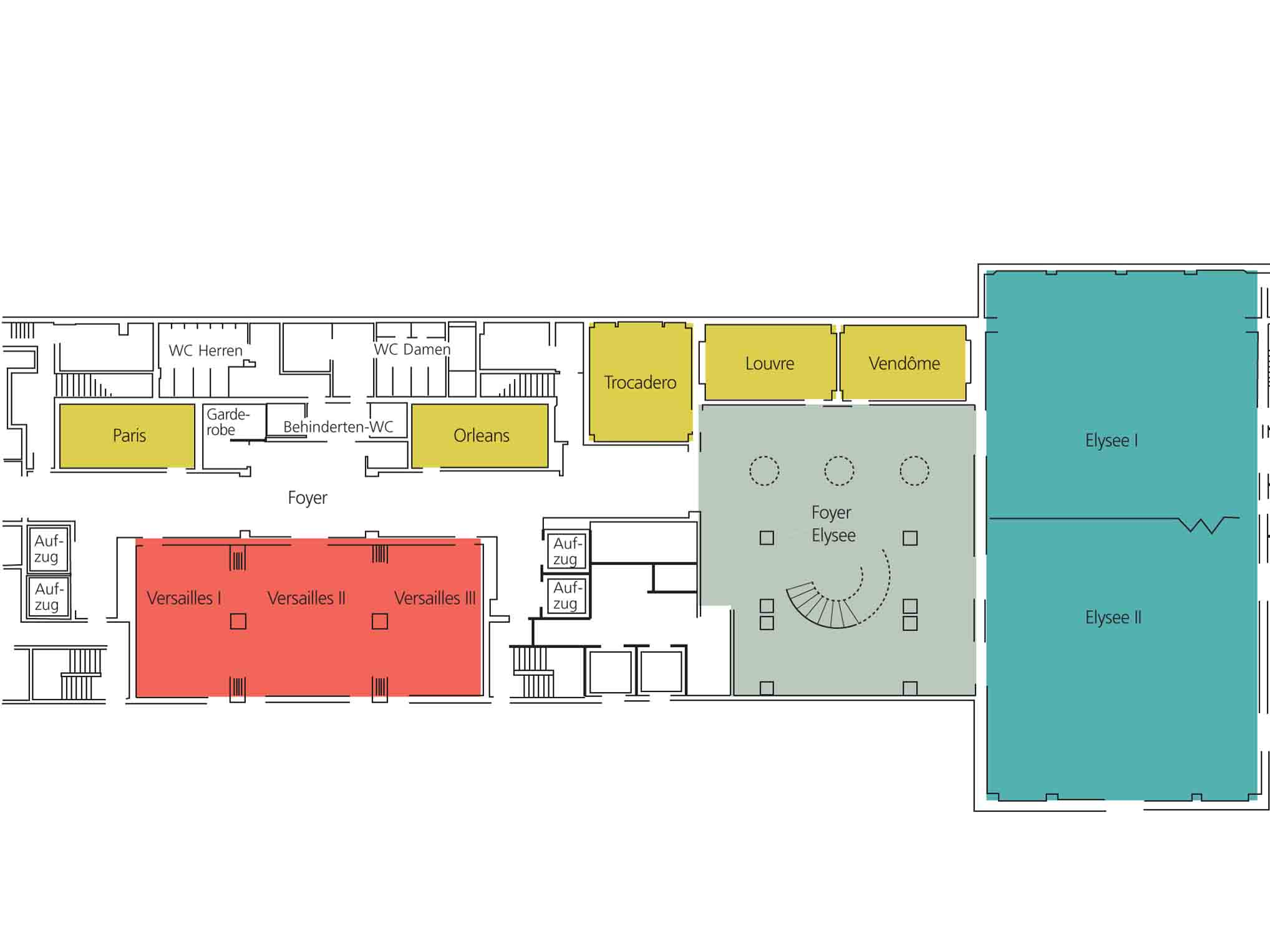 Le Méridien Stuttgart: meeting area floor plan